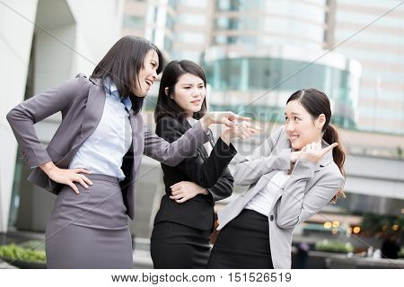 business woman bullying and argue in office asian