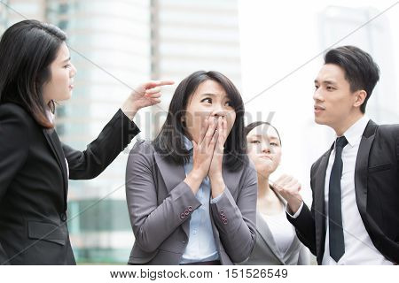 business people bullying and argue in office asian