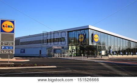 HALIKKO FINLAND - OCTOBER 8 2016: The new Lidl store in Halikko. The discount supermarket chain Lidl Stiftung & Co. KG has currently 152 stores in Finland and the new Halikko store will open on 13 October.