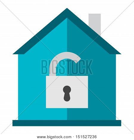 Lock house icon vector design computer key sign. Vector security isolated business home lock icon protect access safe door open. Protection web home lock icon padlock secure safety protect.