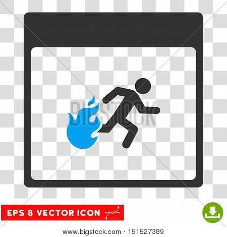 Vector Fire Evacuation Man Calendar Page EPS vector pictogram. Illustration style is flat iconic bicolor blue and gray symbol on a transparent background.