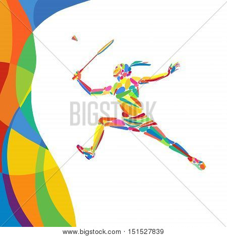 Abstract colorful pattern with Badminton Player. Summer colors - Green orange yellow blue. Sport background for design advertising. Eps8 stock vector