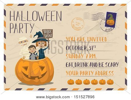 Halloween party invitation with halloween elements and place for text. Funny kids in halloween costumes mummy, vampire and witch. Cartoon Halloween kids characters. Halloween design elements. Flyer on Halloween party night. Layout for halloween ad.