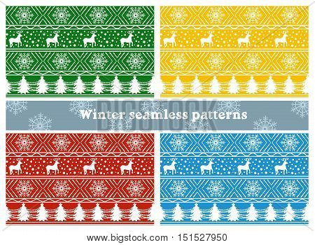 Set of vector seamless patterns with white christmas ornament of deer, snowflake and christmas tree on color background