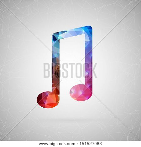Abstract creative concept vector icon of music sign. For web and mobile content isolated on background, unusual template design, flat silhouette object and social media image, triangle art origami.