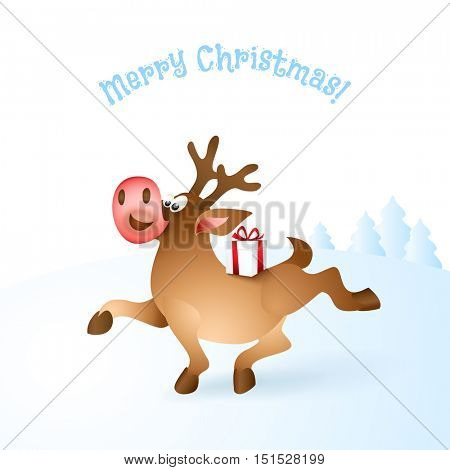 Happy Christmas reindeer proudly walking with gift box on back. Blue landscape background. Cartoon Character of deer. Vector illustration