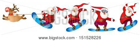 Set of Santa snowboarding. Merry Christmas card with snow landscape. Vector illustration for your design. Old men and reindeer cartoon characters. Christmas and New Year theme