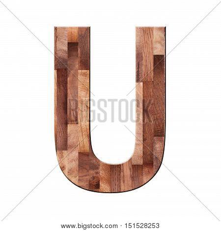Wooden Parquet Alphabet Letter Symbol - U. Isolated On White Background
