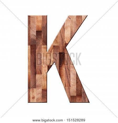 Wooden Parquet Alphabet Letter Symbol - K. Isolated On White Background