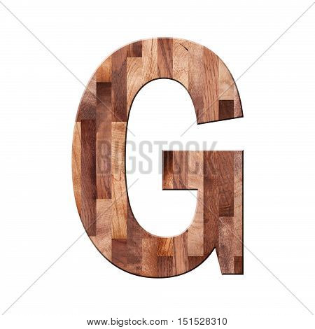 Wooden Parquet Alphabet Letter Symbol -g. Isolated On White Background