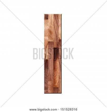 Wooden Parquet Alphabet Letter Symbol - I. Isolated On White Background