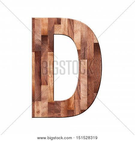 Wooden Parquet Alphabet Letter Symbol - D. Isolated On White Background