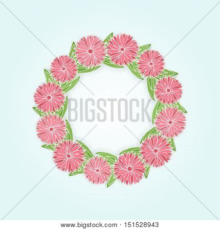 Vector background with floral round frame. Circle border with pink flowers with leaves