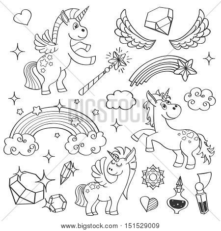 Magic unicorn rainbow, fairy wings, magic wand, stars and crystals in outline hand drawn style vector illustration set