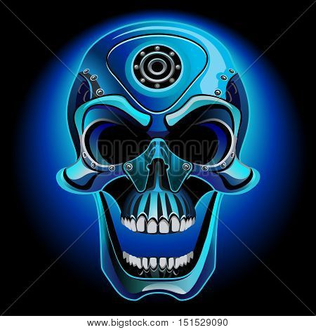 Metal skull biker. The skull from the front on a black background