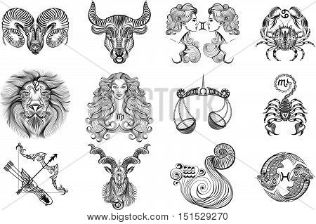 Twelve vector black and white signs of the zodiac on a white background