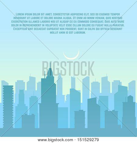 City skyline, urban cityscape vector illustration. Skyscraper building silhouette downtown