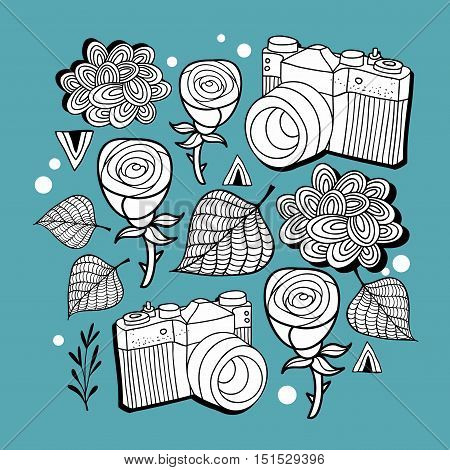 Doodle print with photo cameras and roses. Vector pattern.
