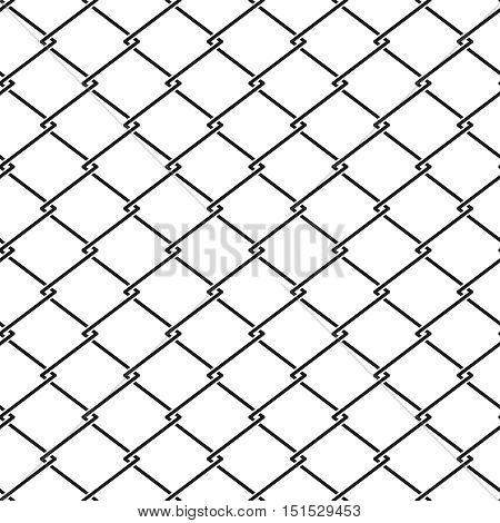 Vector fence steel netting seamless pattern. Metal cage background illustration