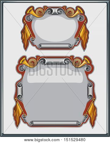 Scroll. Parchment. Ribbon in Retro Style. Vector flat illustration