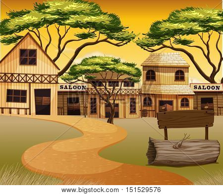 Western town with road and buildings illustration