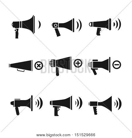 Megaphone and loudspeaker, audio speaker, volume vector icons. Control power sound button illustration