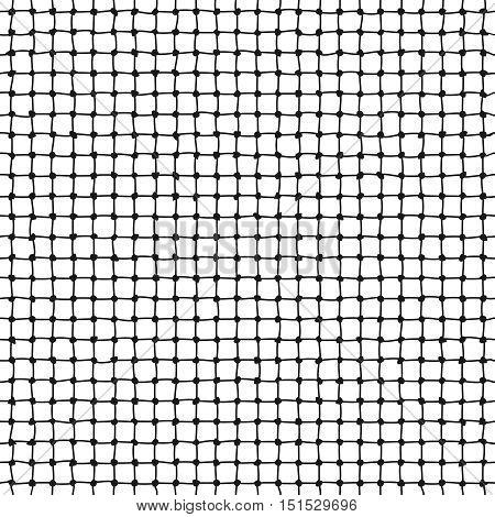 Rope net vector seamless pattern. Marine mesh form thread illustration