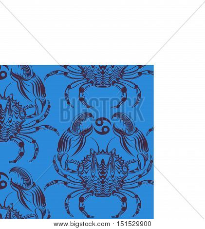 Repaint seamless pattern: crab. Easy to recolor vector pattern