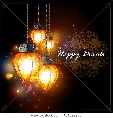 easy to edit vector illustration of decorated hanging light for Happy Diwali holiday background