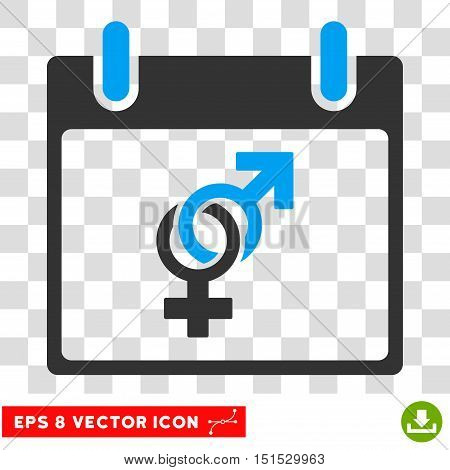 Vector Marriage Calendar Day EPS vector icon. Illustration style is flat iconic bicolor blue and gray symbol on a transparent background.