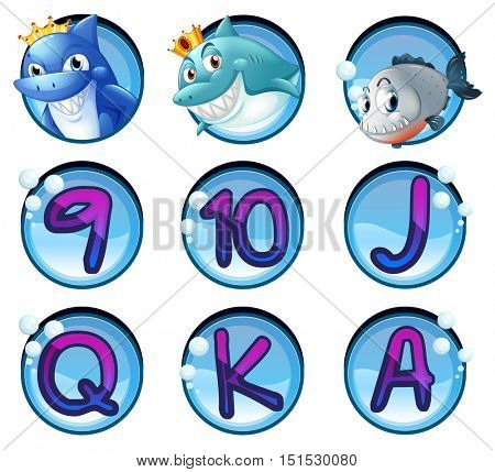 Sharks and letters on round badges illustration
