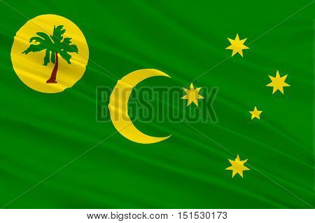 Flag of Territory of the Cocos (Keeling) Islands also called Cocos Islands and Keeling Islands is a territory of Australia. 3d illustration