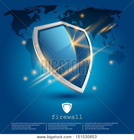 firewall shield with world map on background