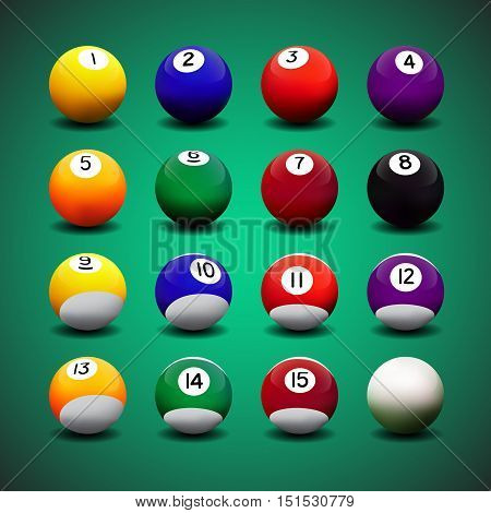 Complete set of realistic vector billiard balls.