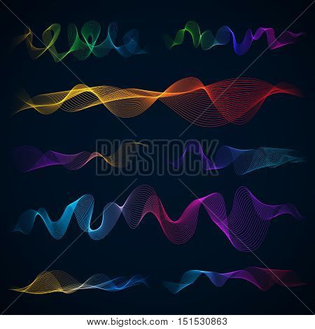 Luminous 3d sound waves, energy effect vector set. Equalizer colored effect illustration