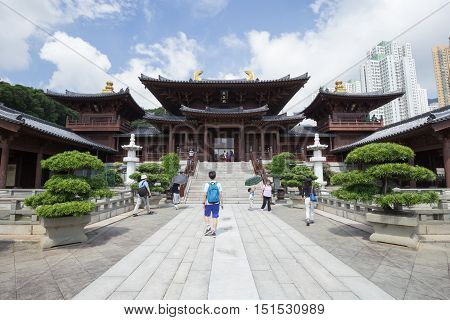 HONG KONG - SEPTEMBER 24 2015: Chi lin Nunnery Tang dynasty style temple at Hong Kong China