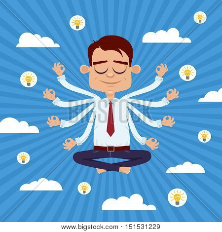 Businessman With Eight Hands Sitting In Yoga Lotus Pose, Relaxing And Hovering In The Sky With Idea