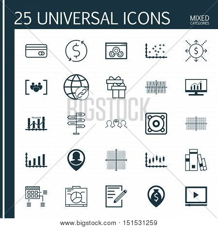 Set Of 25 Universal Icons On Present, Connectivity, Plastic Card And More Topics. Vector Icon Set In