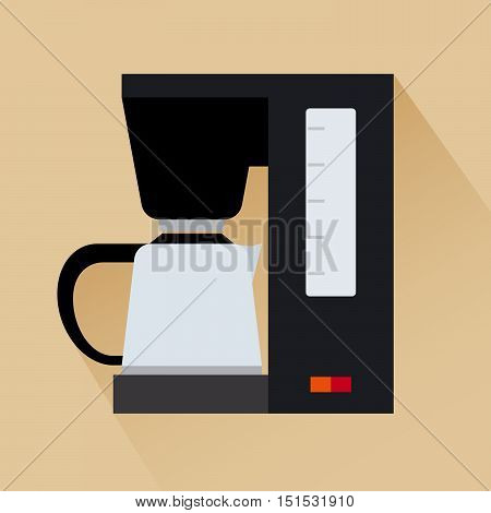 Espresso coffee machine flat modern icon with shadow. Vector illustration