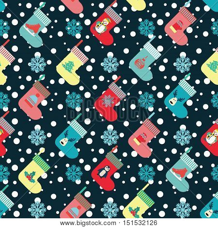 Vector Christmas and winter holiday background in flat design with different christmas socks.