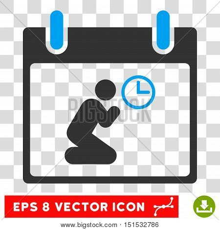 Vector Pray Time Calendar Day EPS vector pictogram. Illustration style is flat iconic bicolor blue and gray symbol on a transparent background.