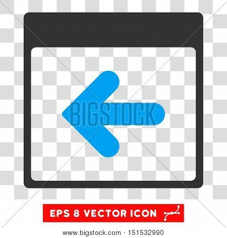 Vector Previous Calendar Day EPS vector icon. Illustration style is flat iconic bicolor blue and gray symbol on a transparent background.
