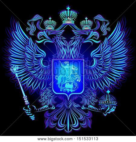 Glowing blue neon emblem Russia on a black background.