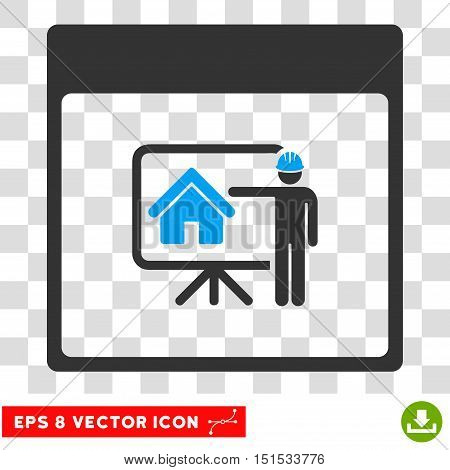 Vector Realty Developer Calendar Page EPS vector pictograph. Illustration style is flat iconic bicolor blue and gray symbol on a transparent background.