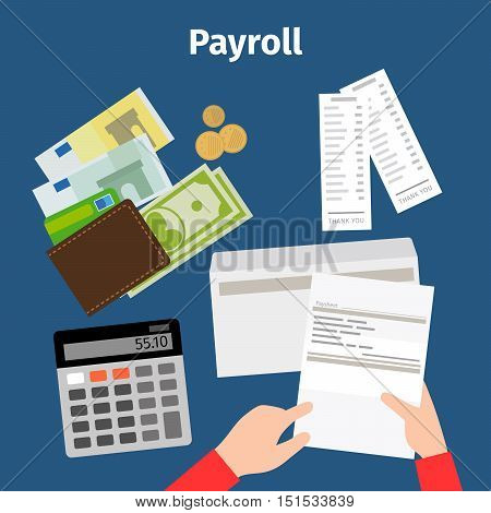 Invoice sheet, Paysheet or payroll vector icon