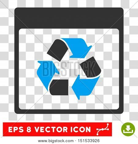 Vector Recycle Calendar Page EPS vector pictogram. Illustration style is flat iconic bicolor blue and gray symbol on a transparent background.