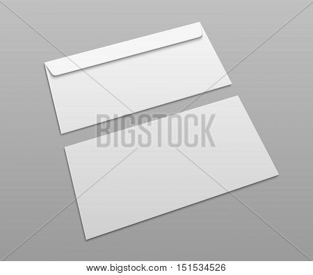 White vector postal envelopes for design presentation. Mock-up illustration.
