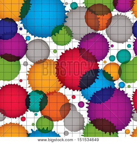 Vector ink splash seamless pattern with rounded overlap shapes grid dirty graphic art repeat backdrop with overlap acrylic spots scanned and traced.