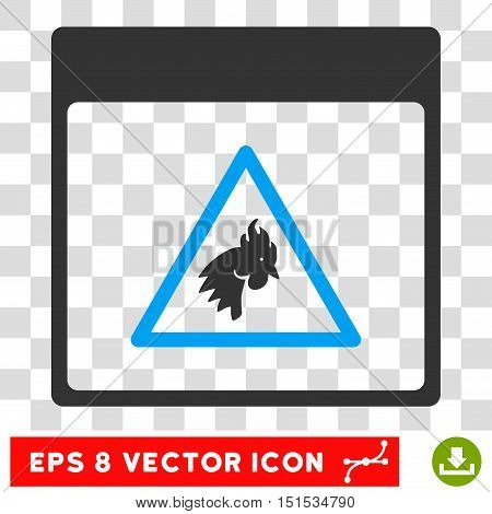 Vector Rooster Danger Calendar Page EPS vector pictograph. Illustration style is flat iconic bicolor blue and gray symbol on a transparent background.