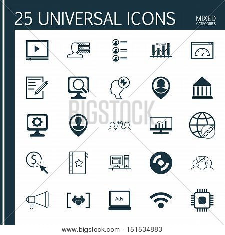 Set Of 25 Universal Icons On Coaching, Warranty, Paper And More Topics. Vector Icon Set Including Pp